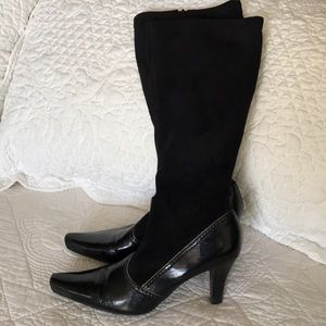 "Franco Sarto Black Wide Calf Boots 3"" Heel 8"